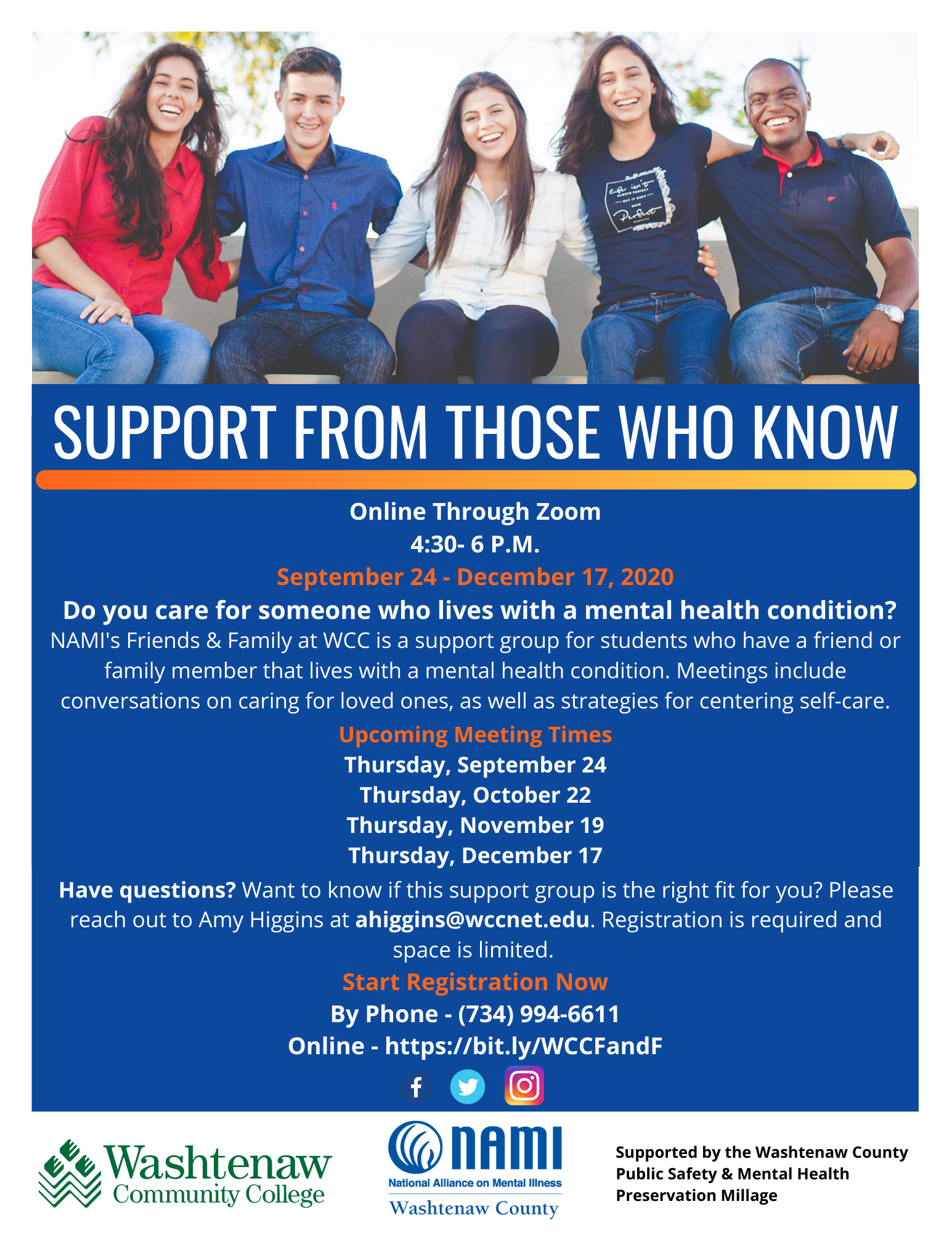 WCC Student Friends & Family Support Group Flyer
